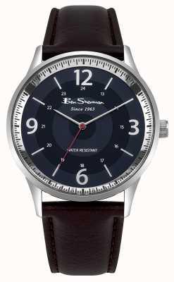 Ben Sherman Heren navy wijzerplaat bruin lederen band script horloge BS001UBR