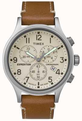 Timex Heren expeditie chronograafbruin lederen band crème wijzerplaat TW4B09200