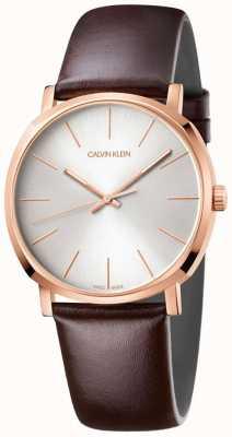 Calvin Klein Heren bruin lederen band rosé gouden horloge K8Q316G6