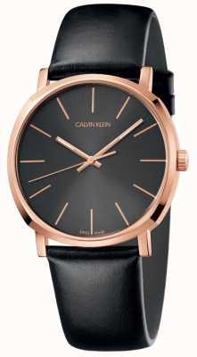 Calvin Klein Heren zwart lederen horloge rosé gouden kast K8Q316C3