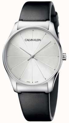 Calvin Klein Dames zwart lederen wijzerplaathorloge K4D211C6