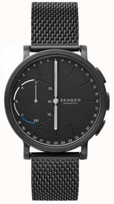 Skagen Hagen verbonden slimme horloge zwarte mesh armband zwarte wijzerplaat SKT1109