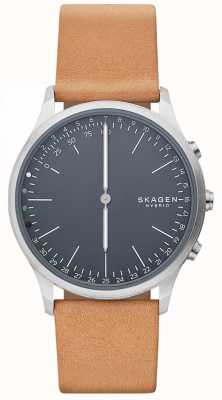 Skagen Jorn connected smart watch bruine lederen band blauwe wijzerplaat SKT1200