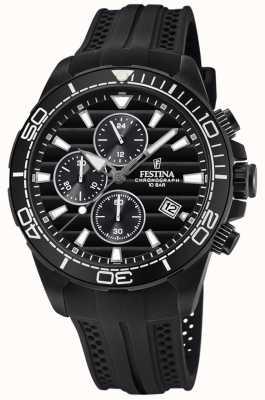 Festina Zwarte chrono horlogeband met rubberen horlogeband F20369/1