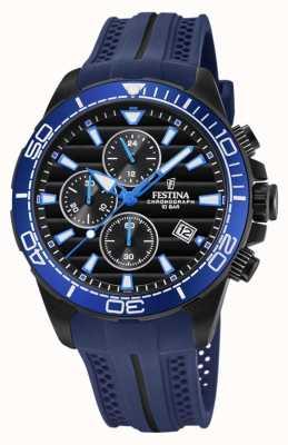 Festina Zwarte chrono horlogeband met rubberen horlogeband F20369/2