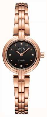 Rotary Diamanten dames zwart dial geplateerd roségoud roestvrij staal LB00414/15
