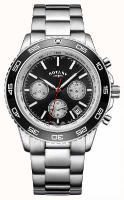 Rotary Heren chronograaf datum display tachymeter roestvrij staal GB00410/04