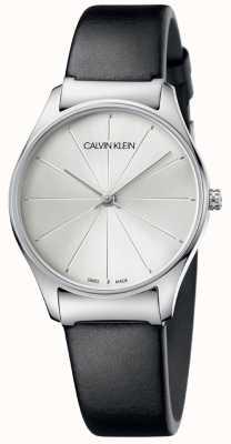 Calvin Klein Klassieke zwarte lederen band met zilveren wijzerplaat K4D221C6