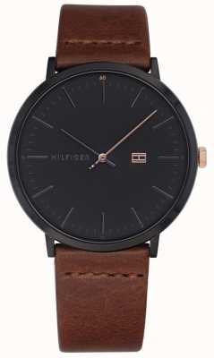 Tommy Hilfiger Heren james horloge bruin lederen band donkergrijs wijzerplaat 1791461