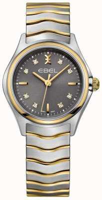 EBEL Damesgolf diamant set tweekleurige armband grijze wijzerplaat 1216283
