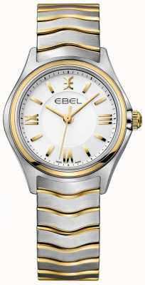 EBEL Tweekleurige gouden en zilveren damesarmband met witte wijzerplaat 1216375