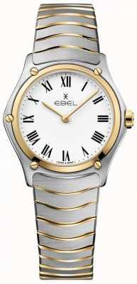 EBEL Dames sport klassieke witte wijzerplaat tweekleurige armband roestvrij 1216387A
