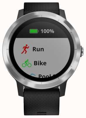Garmin Vivoactive 3 uur multisport tracker zwart rubberen zilveren bezel 010-01769-00