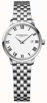 Raymond Weil Womens toccata roestvrij stalen armband witte wijzerplaat 5988-ST-00300