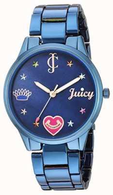 Juicy Couture Blauwe stalen damesarmband | gekleurde markeringen | blauwe wijzerplaat JC-1017BMBL