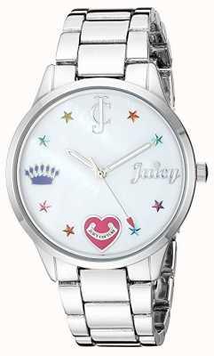 Juicy Couture Dameshorloge in zilverkleurig zilver met gekleurde stiften JC-1017MPSV