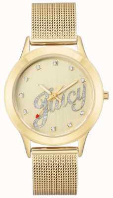 Juicy Couture Womens goudkleurige mesh armband, sappig script horloge JC-1032CHGB