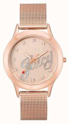 Juicy Couture Womens rose goudkleurig mesh armband, sappig script horloge JC-1032RGRG