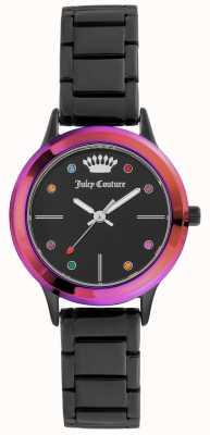 Juicy Couture Zwarte wijzerplaat dames zwart, zwart met gekleurde omlijsting JC-1051MTBK