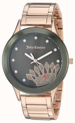 Juicy Couture (geen doos) dames roségoud roestvrij staal zwarte wijzerplaat JC-1052OLRG