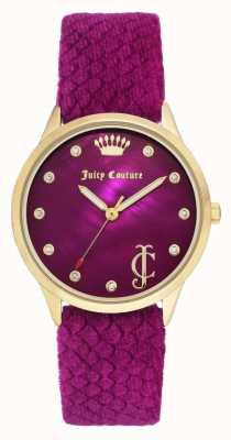 Juicy Couture Dames bordeauxrood   bordeaux fluwelen riem   gouden toon geval JC-1060HPHP