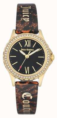 Juicy Couture Womens goudkleurige behuizing | bruine armband zwarte behuizing JC-1068BKBN