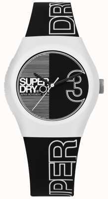 Superdry Stedelijke fusion zwart-wit bedrukte wijzerplaat en riem SYL239BW