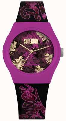 Superdry Stedelijke tropicana paarse en roze blad print wijzerplaat paarse riem SYL247BP