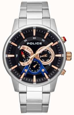 Police Heren slimme stijl roestvrij stalen armband zwarte wijzerplaat PL.15523JS/02M