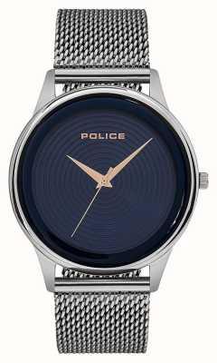Police Heren slimme stijl RVS mesh armband blauwe wijzerplaat PL.15524JS/03MM