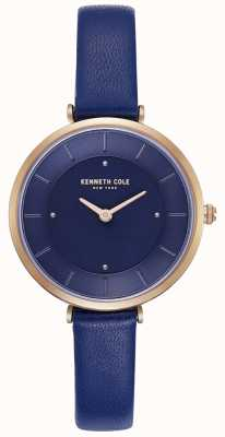 Kenneth Cole Dames blauwe lederen band blauwe wijzerplaathorloge KC50306005