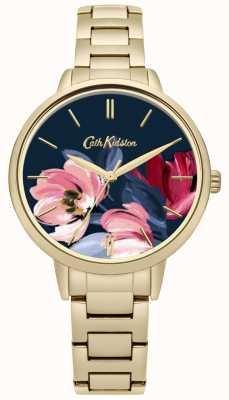 Cath Kidston Dames gouden toon armband met bloemen bedrukte wijzerplaat CKL050GM