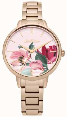 Cath Kidston Dames rose goudkleurige wijzerplaat met bloemenprint CKL050RGM
