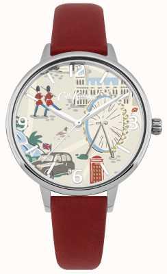 Cath Kidston Rode lederen band Londen londen kaart gedrukt wijzerplaat horloge CKL053R