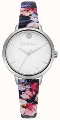 Cath Kidston Bruine wijzerplaat met witte bloemenprint van damesmarineblauw CKL064U