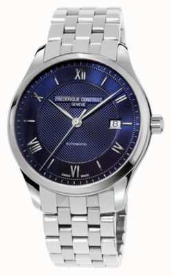 Frederique Constant Heren index blauwe wijzerplaat roestvrij stalen armband FC-303MN5B6B