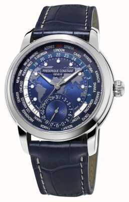 Frederique Constant Heren fabrikant worldtimer blauwe wijzerplaat blauwe band FC-718NWM4H6