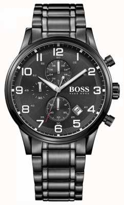 Hugo Boss Heren aeroliner zwart chronograaf horloge 1513180
