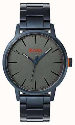 Hugo Boss Orange Heren copenhagenblue pvd plated stalen armband grijze wijzerplaat 1550059