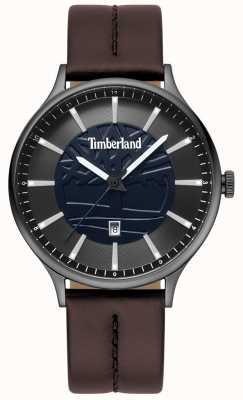Timberland Mens marblehead bruin lederen band blauwe wijzerplaat TBL.15488JSU/03