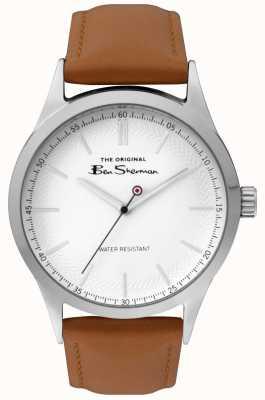 Ben Sherman Heren mat witte wijzerplaat tan band zilverkleurig stalen kast BS016T