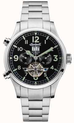 Ingersoll Mens de armstrong automatisch zwart chronograaf roestvrij staal I02103