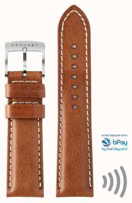 Kronaby Bpay 20mm bruine lederen contactloze betaalriem A1000-3360