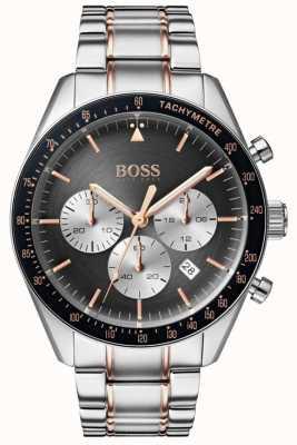 Boss Heren trofee horloge grijs chronograaf wijzerplaat roestvrij staal 1513634