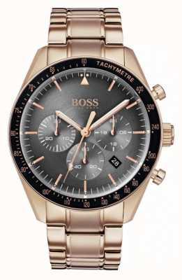 Boss Heren trofee horloge grijze chronograaf wijzerplaat rose goudkleur 1513632