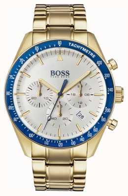 Boss Heren trofee horloge witte chronograaf wijzerplaat goudkleur 1513631