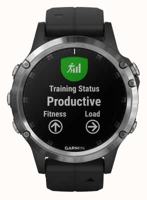 Garmin Fenix 5 plus zilveren zwarte rubberen band 010-01988-11