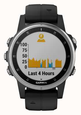 Garmin Fenix 5s plus zilveren zwarte rubberen band 010-01987-21