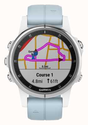 Garmin Fenix 5s plus witte ring lichtblauwe rubberen band 010-01987-23