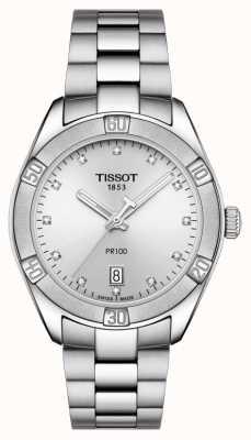 Tissot Dames pr 100 sport chic diamant datum weergave instellen T1019101103600